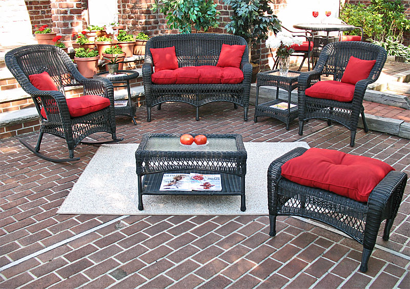 Black Bel Aire Outdoor Wicker Patio Furniture