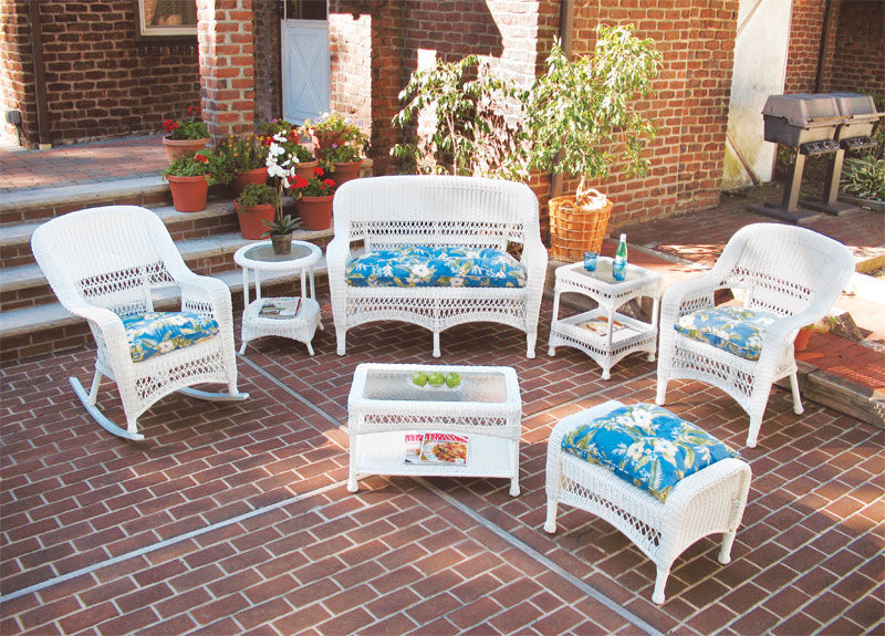 White Bel Aire Outdoor Wicker Patio Furniture