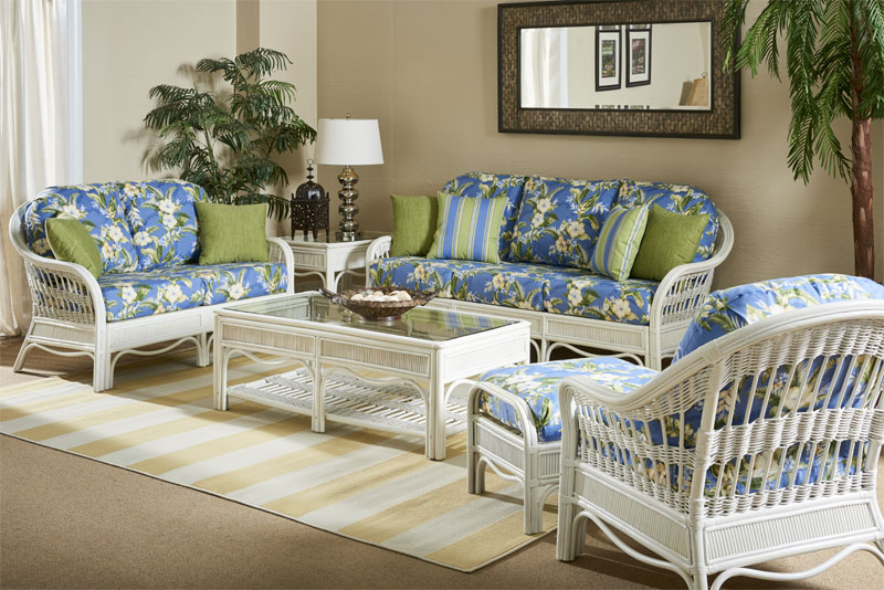 White Wash Bermuda Rattan Sofa and Dining Collections