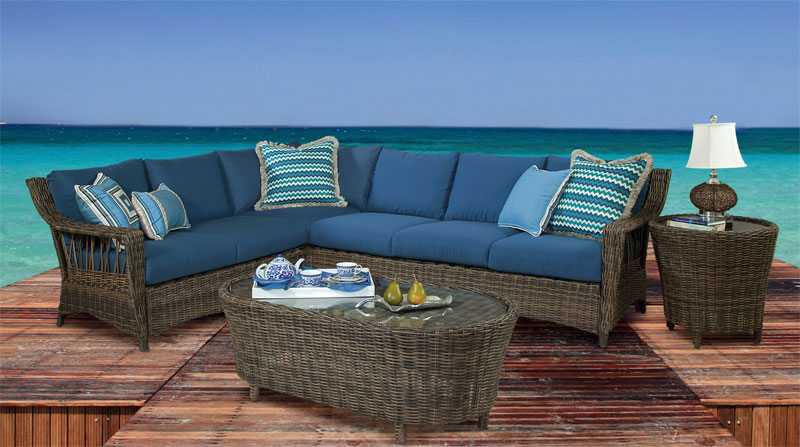 Cappucino Coral Reef All Weather Wicker Sectionals