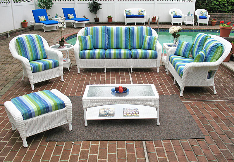 White Laguna Beach Wicker Sofa and Loveseat Collections