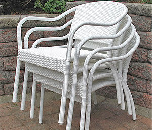 Wicker Dining Chairs, Stackable
