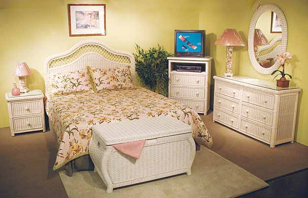 White Wash Pavilion Wicker Bedroom Collection