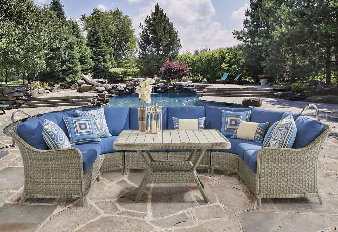 Countryside All Weather Wicker Sectionals, Pebble Stone Color
