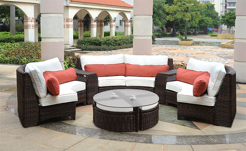 Espresso St. Croix All Weather Wicker Circular Sectional Collections
