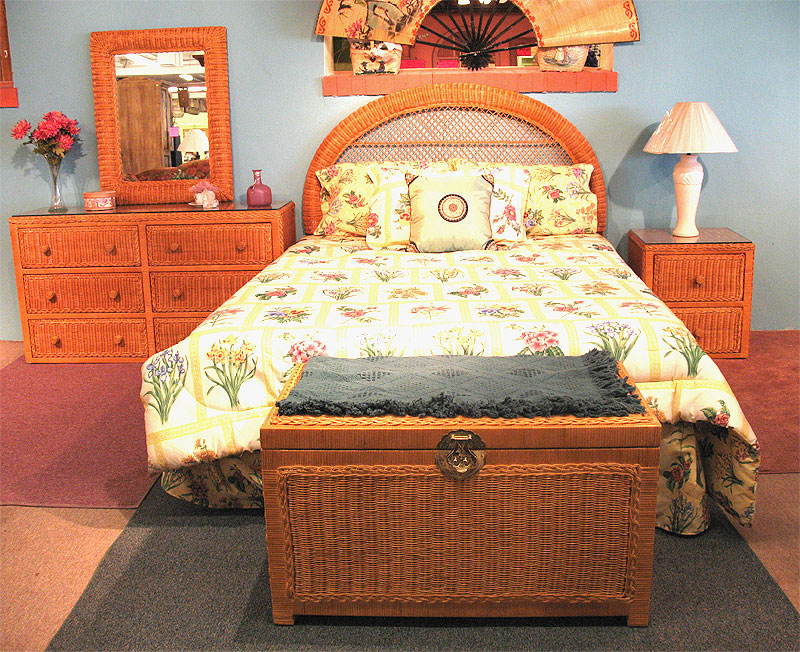 Caramel Traditional Wicker Bedroom Collection