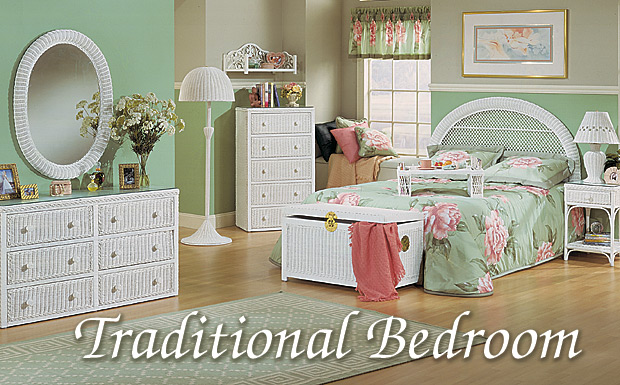 White Traditional Wicker Bedroom Collection