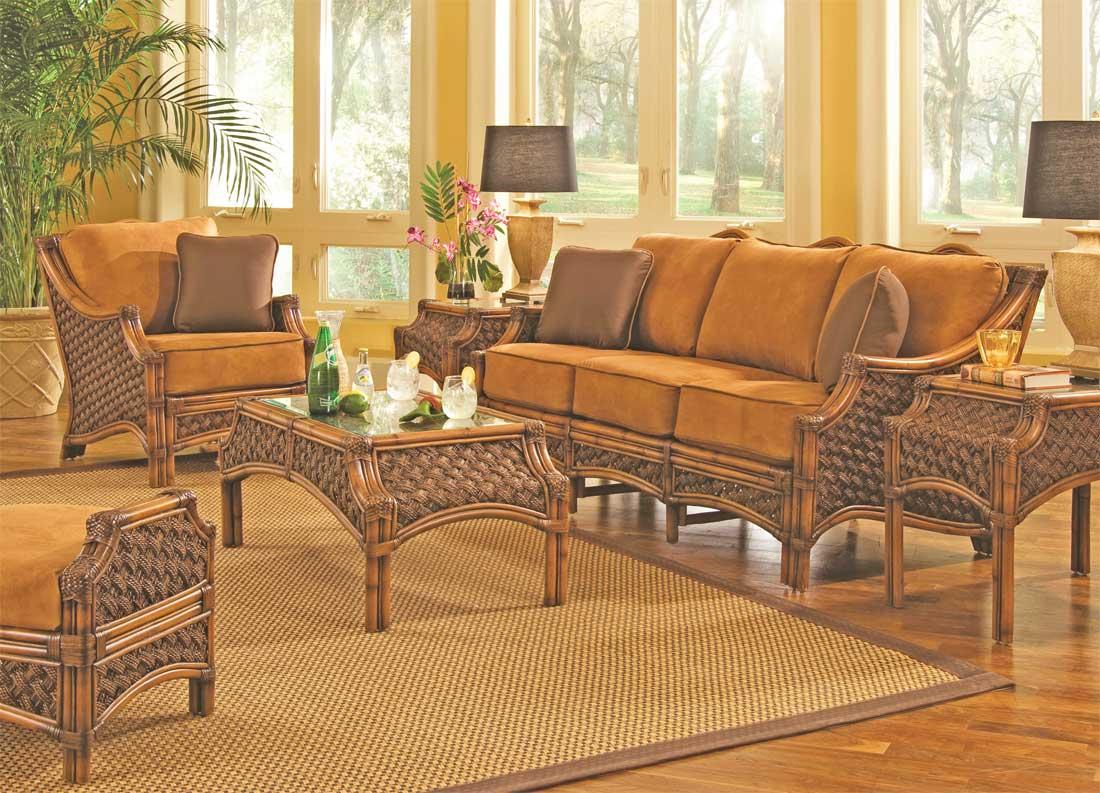 Brown Wash Aloha Rattan Furniture Sets