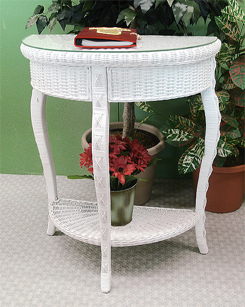 Foyer Table Glass Top : Charleston wicker foyer table with glass top
