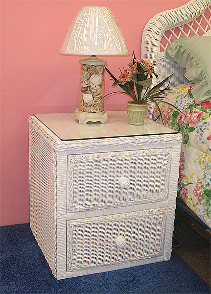 Wicker Night Table 2 Drawers Traditional Style