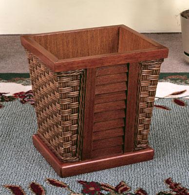 Shutter Wood Lined Waste Basket