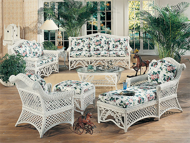 Victorian Natural Wicker Furniture Set 5pc