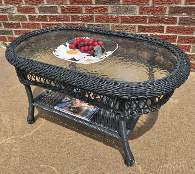 Belaire Resin Wicker Oval Cocktail Or Coffee Table With