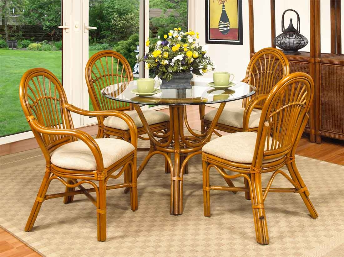 Antigua 42 rattan dining set with 2 arm and 2 side chairs for Antigua wicker chaise