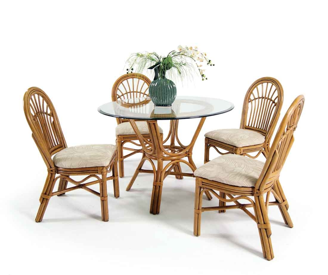 Antigua rattan 42 dining set with 4 side chairs for Antigua wicker chaise