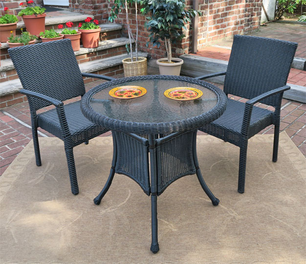 Caribbean Resin Wicker Bistro Dining Set 30 Quot 2 Arm Chairs