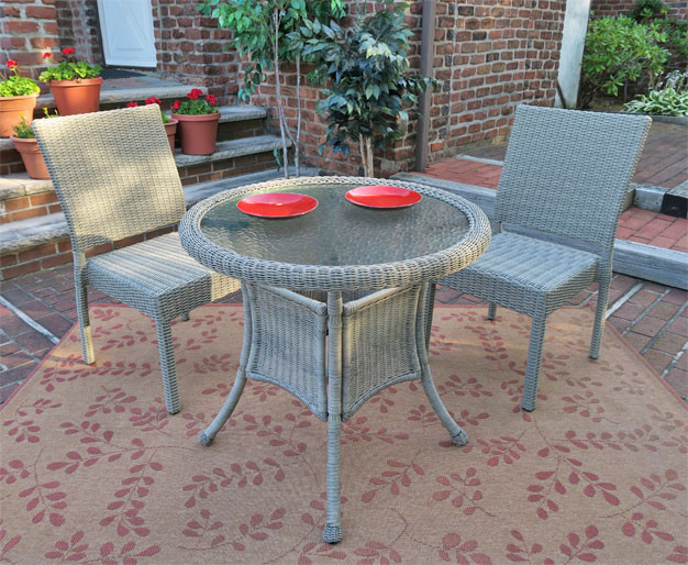 "Caribbean Resin Wicker Bistro Dining Set 30"" Round (2-Side"