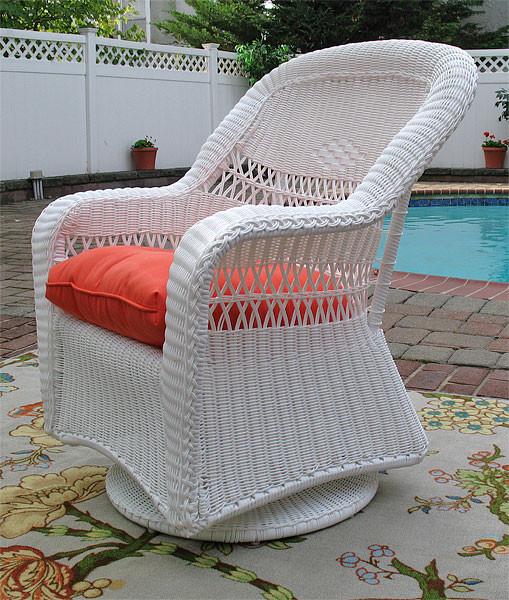 Resin Wicker Swivel Glider Chair White