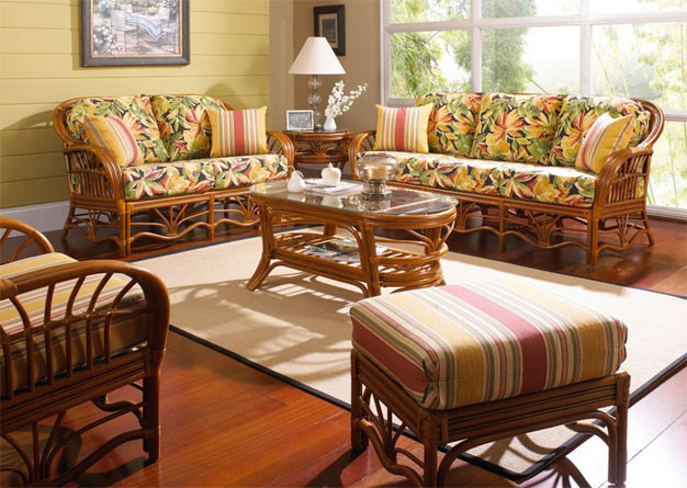 (6) Piece Tahiti Rattan Sofa Collection - WALNUT