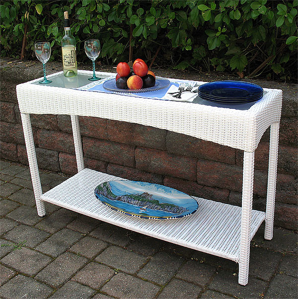 Caribbean Resin Serving Console Table White