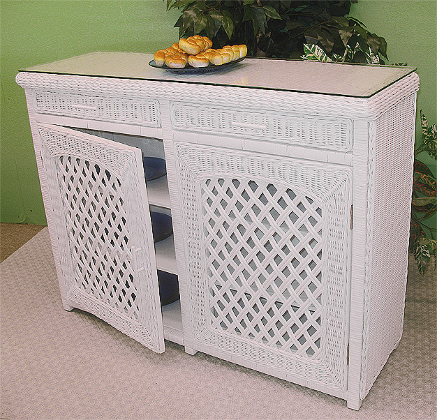 Outdoor Wicker Cabinet: Buffet Lattice Wicker Cabinet