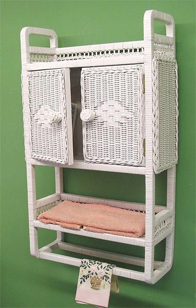Wicker Bath Cabinet With Towel Bar