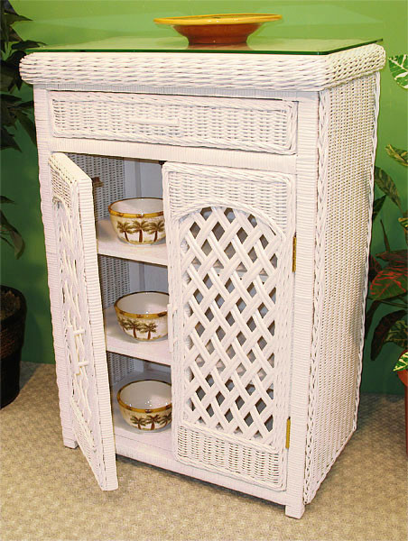 Single Lattice Wicker Cabinet - TEAWASH