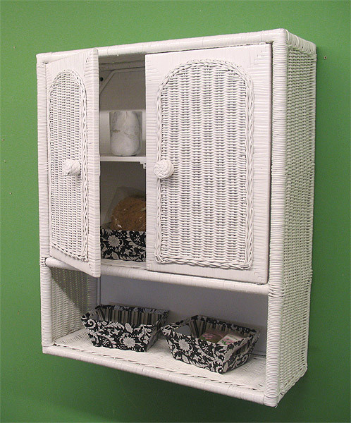 Wicker Wall Cabinet - WHITE