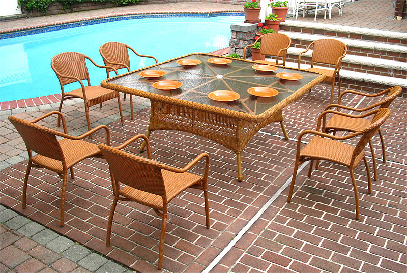 66 SquareDining Set with 8 Bistro Chairs : b669dsn gh from www.wickerwarehouse.com size 800 x 537 jpeg 208kB