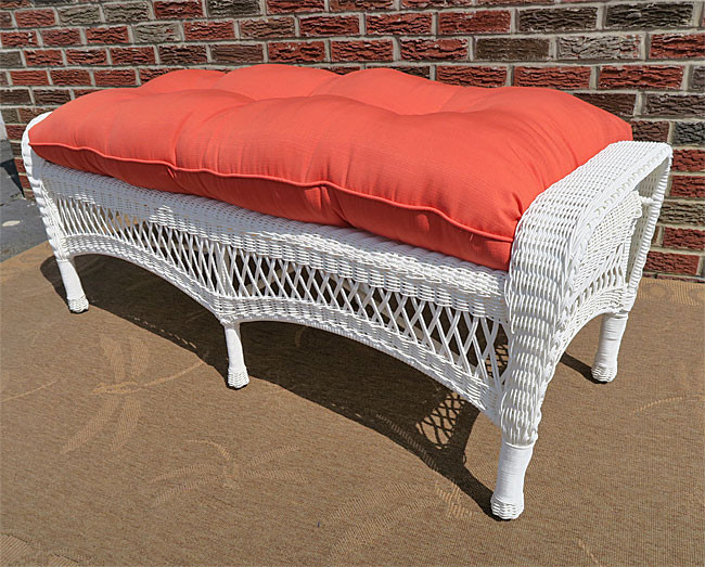 Belaire Wicker Bench with Cushion - GOLDEN HONEY