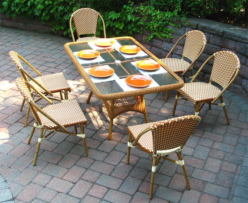 home rect 60 x 36 7 piece cafe dining set with umbrella hole