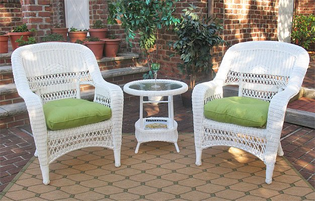 3 Pc Belaire Resin Wicker Chat Set With Round Table  - WHITE