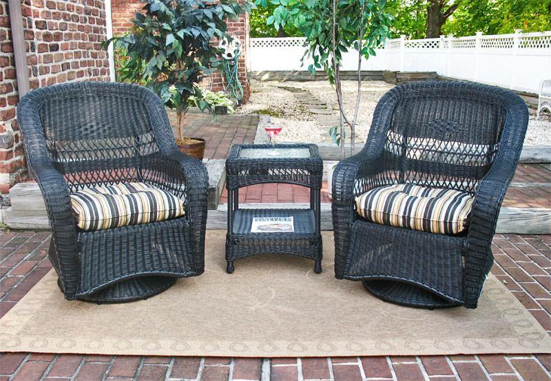 Belaire Resin Wicker Swivel Glider Chat Set (Square Table) - BLACK