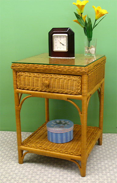 Wicker Night Table Caramel Diamond