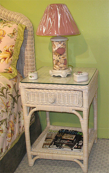 Wicker Night Table Whitewash Diamond