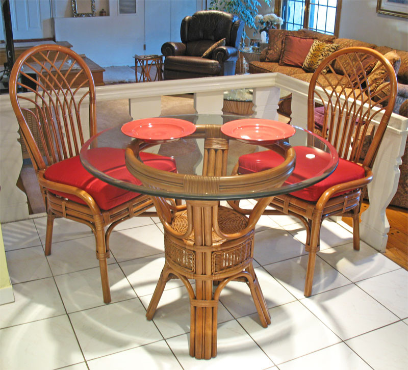 "Natural Rattan Dining Set 36"" Savannah Teawash"