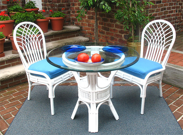 "Natural Rattan Dining Set 36"" Savannah White"