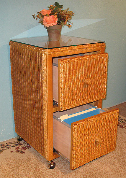 Wicker File Cabinet 2 Drawers - TEAWASH