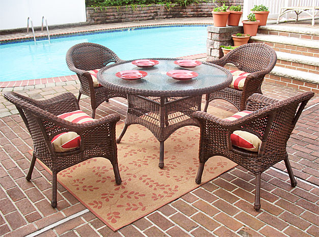 5 Pc Veranda 48 Dining Set with Cushions - ANTIQUE BROWN