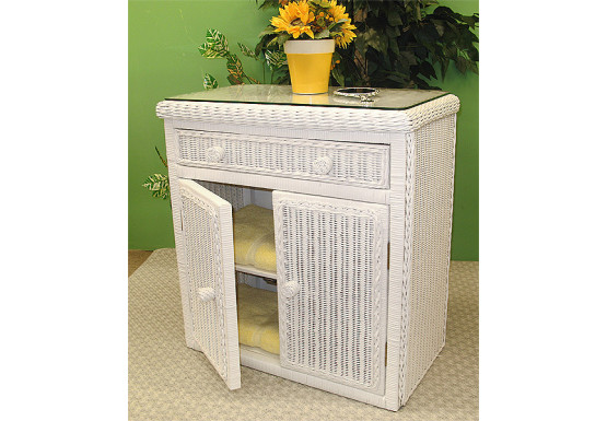 All Purpose Wicker Commode Cabinet - WHITE