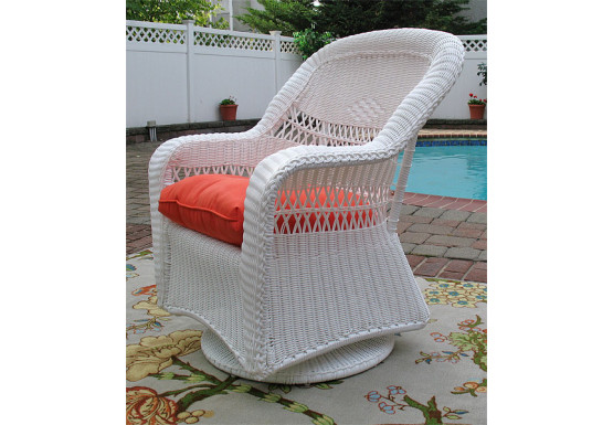 Belair Resin Wicker Swivel Glider Chairs  - WHITE