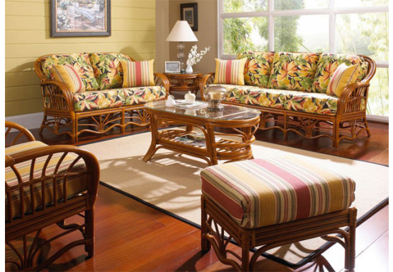 6 Piece Natural Rattan Sofa Set, Tahiti - WALNUT