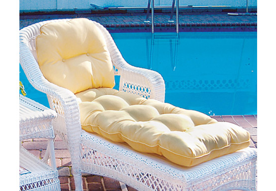Sunbrella Fabric Wicker Chaise Lounge Cushion