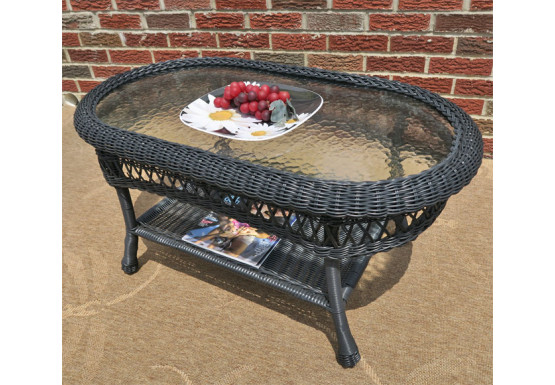 Belaire Resin Wicker Oval Cocktail or  Coffee Table with Glass Top - BLACK
