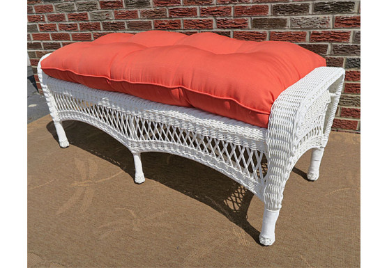 Resin Wicker Bench With Cushion White