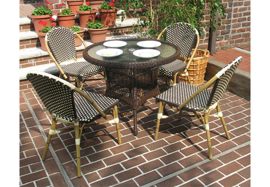 Resin Wicker Cafe Bistro Dining Set 36 Round 4 Chairs Antique Brown And Ivory