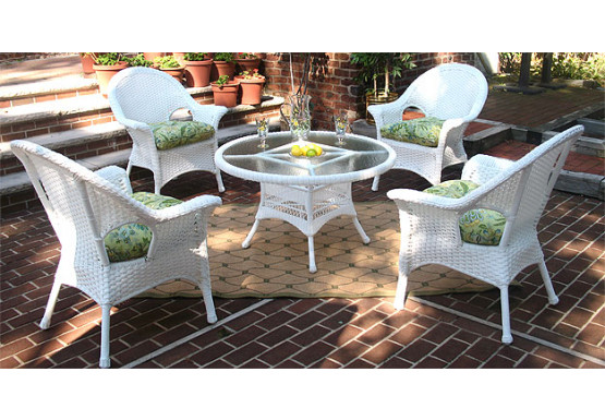 "High Back Veranda Resin Wicker Conversation Set (1) 24"" High Table (4) Chairs - WHITE"