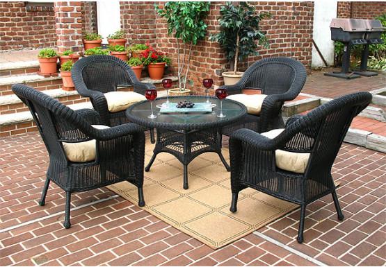 Malibu Resin Wicker Conversation Set (1) 24 High Table (4) Chairs - BLACK