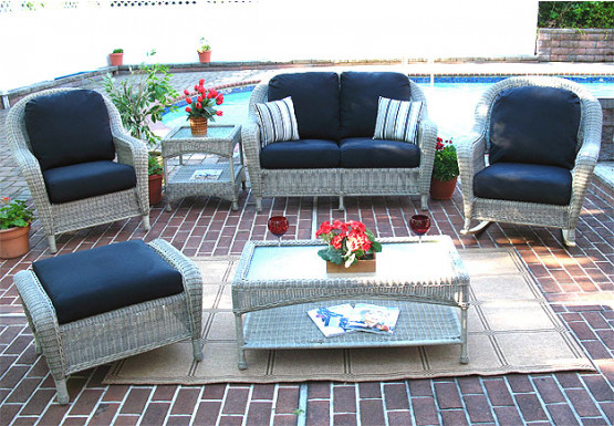 4 Piece Laguna Beach Resin Wicker Patio Furniture With Love Seat 2 Chairs
