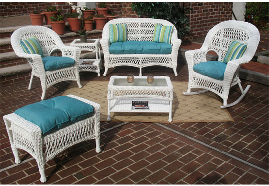 4 Piece Madrid Wicker Set with Cushions 2- Chairs - WHITE